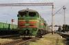 Having replaced UZ ChS8-117 at Apostolove on 298 2152 (P) Kyiv Pas. - Kherson, UZ 2TE10UT-0030a/b wait to get the train underway again at Apostolove