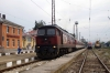 BDZ 07124 pauses at Pernik with MBV7669 0730 Sofia - Kulata leg of PTG's 2015 Greece Tour