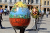 Ukraine, Kiev - Main square outside St Sophia's Cathedral with decorated eggs on display for Easter