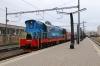Ühinenud Depood (ÜD) ChME3-5371 prepares to shunt the stock out at Tallinn after Go Rail TEP70-0320 had arrived with 033X 2215 (P) Moskva Okt - Tallinn