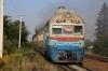 UZ 2TE10M-2601a departs Mamayivtsi, dragging DMU DR1-890 and two DMU coaches, working 6461 0848 Chernivtsi - Kolomiya