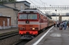 RZD TEP70-0240 waits to depart Volokolamsk with 001P 1705 Moskva Rizhsky - Riga, having just replaced RZD ChS7-053 there