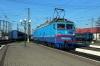 UZ VL10-1487 backs down at L'viv to work 41 1430 (P) Dnipropetrovsk - Truskavets; meanwhile VL80T-1159 shunts the motorail coach into the adjacent platform, having brought 41 into L'viv