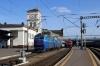 Kyiv Pasazyrski (L-R) - UZ ChS8-009 (2&1) waits with 763 1614 Darnytsia - Odesa and DS3-004 waits to follow it out with 769 1646 Kyiv Pasazyrski - Kamianets Podilskyi