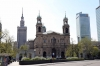 Poland, Warsaw - Church of All Saints with the Palace of Culture & Science behind it
