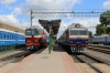 Hrodna, Belarus - Left, BCh TEP70-0435 after arrival with 673B 0701 Minsk Pas. - Hrodna & right, DR1A-321 DMU waits with 6254 1224 Hrodna - Lida