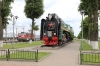 Steam Loco P36-0111 plinthed at Orsha Centralny with ChS4T-599 having arrived with 066B 1021 Minsk - Murmansk