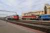 BCh TEP70-0227 about to depart Gomel with 083B 1716 Gomel - St Petersburg while RZD 2TE25KM-0187 runs through the station
