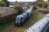 BCh TEM2UM-013 shunting in the carriage works over the back of Gomel station