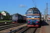 BCh 2M62U-0260B stands at Orsha with 6563 0853 Orsha - Mogilev 1 while 2M62U-0307A shunts to the sidings having arrived with the inward working of 6562 0628 Mogilev 1 - Orsha