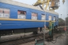 Coach undergoing gauge changing from CIS gauge to Standard gauge at Ungheni