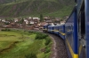 Peru Rail MLW DL560 #659 leads train 20 0800 Cusco Wanchaq - Puno as it heads away from the Cusco suburbs and into the wilderness