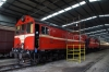 Ex Tasrail X Class, EE 6SRKT, X20/X3 inside the shed at Lakers Siding being prepared to re-engine our Private Charter on the Bellarine Railway, Victoria