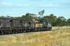 PN Goodwin/Alco DL531 48 Classes, 48163 & 48162 sandwich Clyde/EMD G26C X Class, X46 as they pass through Yarrabandai with 8832 Condobolin - Manildra loaded grain