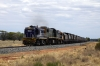 PN Goodwin/Alco DL531 48 Classes, 48163 & 48162 sandwich Clyde/EMD G26C X Class, X51 as they head away from Condobolin with 8834 1330 Condobolin - Manildra