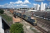 MRS Logitsica GE U23CA's 3656, 3605 & 3647 depart Jundiai with a northbound freight