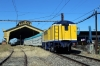 Temuco, Chile - GE 105t Shovelnose Alco D16005 shunts the motorail vehicles off the rear of the train for offloading; D16012 would then shunt the train away