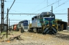 Temuco, Chile - FEPASA GM SD39-2's 2355/2360 sit in the yard adjacent to the station with a southbound train