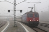 SBB Cargo 421394 waits to depart Lindau Hbf with EC196 0714 Munchen Hbf - Zurich Hbf