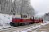 Budapest Children's Railway - MAV Mk45-2005 waits to cross an oncoming train at Szepjuhaszne while working 135 1110 Huvosvolgy - Szechenyihegy