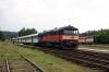 CD 749121 waits to depart Zruc nad Sazavou with 9206 1346 Svetla nad Sazavou - Praha HN while 749006 waits in the sidings with the stock to form Sp1832 1600 Zruc nad Sazavou - Praha HN