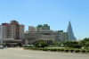North Korea, Pyongyang - view from the Arch of Truimph towards the unfinished Ryugyong Hotel