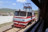 North Korea - KSR Electric Track Machine #0761 standing at Pugo; as seen through the window of our compartment on board KSR train #7 0750 (P) Pyongyang - Tumangang
