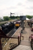 31466 waits at Ramsbottom with the 1215 Heywood - Bury while Steam 80080 arrives with the 1155 Rawtenstall - Heywood