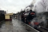 LMS steam loco 13065 at Rawtenstall after arriving with the outward leg of the 1110 Bury - Rawtenstall - Bury Santa Special; it was assisted in rear by 31466