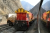 Running through the Andes at Surco, on board FCCA's 0700 Huancayo - Lima Los Desamparados tourist train; led by FCCA GE C30-7 1007, which is passing FCCA GE C30-7 1001 in the loop