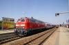 DB 218494 departs Buchloe with IC2085 1356 Augsburg - Oberstdorf
