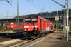 DB 146215 arrives into Plochingen with 63373 0802 Stuttgart - Aulendorf; this turn is usually 2x218 but due to engineering work between Aulendorf & Lindau the diagrams were amended for the worse on this occasion! RBH 151152/143 stand in the siding adjacent.