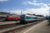 Lindau L-R DB 218409 waits departure with 4208 1405 Lindau - Ulm while Alex 223071 departs with 84151 1358 Lindau - Munich HB