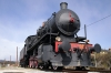 Steam loco 740121 plinthed at Postojna