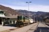 SZ 644005 at Bohinjska Bistrica with 853 0910 Bohinjska Bistrica - Most Na Soci car train