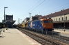 Train Hungary 400087 departs Gyor with an infrastructure train