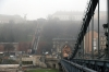 Budapest - Szechenyi Chain Bridge with the Budapest Castle Hill Fenicular Railway in the mist