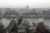 Budapest - from the top of Castle Hill Fenicular Railway; Szechenyi Chain Bridge & St Stephen's Basilica