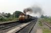 VSKP WDM3A's 18866/16048 power through Sambalpur Road with 18508 2345 (PP) Amritsar Jn - Visakhapatnam; having run round at Sambalpur Jn