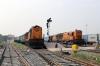 Sambalpur Jn (L-R) - BNDM WDM3A 16556 waits departure with 58131 0815 Rourkela Jn - Puri while BNDM WDM3A's 16510/16419 also wait departure with 12890 0830 (P) Yesvantpur Jn - Tatanagar