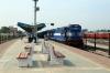 VSKP WDG3A's 14513/14581 wait to depart Samablpur Jn, after running round, with 12880 0710 Bhubaneswar - Lokmanya Tilak Terminus