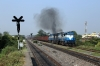 R WDG3A's 13594/13592 hammer up the hill from Sambalpur Junction, as they approach Sambalpur Road, with a freight