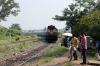 VSKP WDM3A 16512 approaches Sambalpur Road with 12893 0645 Bhubaneswar - Balangir