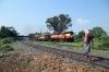 VSKP WDG3A's 13648/14679 run through Sambalpur Road with a freight
