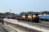 VSKP WDG3A's 14549/14972 arrive into Sambalpur Jn with an empty coal set; VSKP WDG3A 14525 stands spare in the yard
