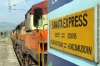 VSKP WDM3A's 16691/18938 wait to depart Muniguda with 12807 0625 Visakhapatnam - Delhi Hazrat Nizamuddin