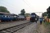 JMP WDM3A 16608 arrives Guskara with 12338 1310 Bolpur - Howrah while HWH WDM3D 11499 waits to depart with 13015 1040 Howrah - Bolpur
