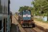 KYN WDM3D 11356 waits at Sindhudurg with 11085 0533 Lokmanya Tilak Terminus - Madgaon Jn double-decker