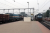 SGUJ WDG4 12817 stands at Rampurhat with a freight as BWN WDM3A 16473 arrives with 53025 0905 Azimganj Jn - Rampurhat