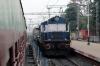 NGC WDG3A 14844 runs through Rampurhat with an oil train